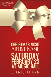 Christmas Event festival Concert Poster Template red