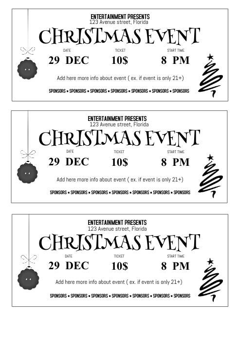 Christmas Event festival Concert ticket emplate printable a4