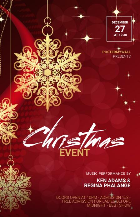 Christmas event flyer template Tabloid