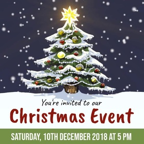Christmas event invite snowing