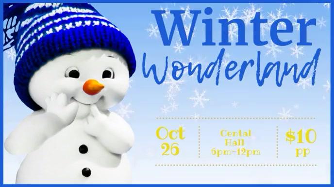 Christmas facebook cover Winter wonderland Présentation (16:9) template