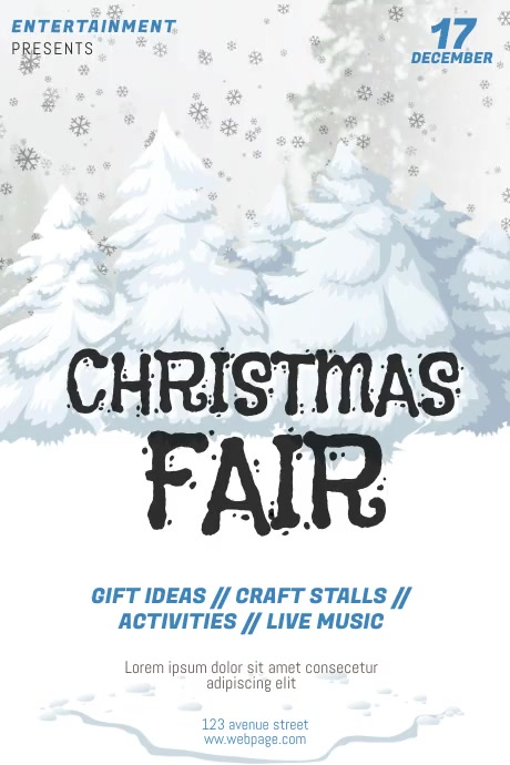 Christmas Fair Raffle Flyer Template Video Postermywall