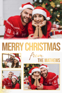 Christmas family collage, collage โปสเตอร์ template