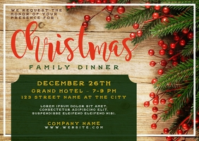 Christmas Family Dinner Postcard Invitation template
