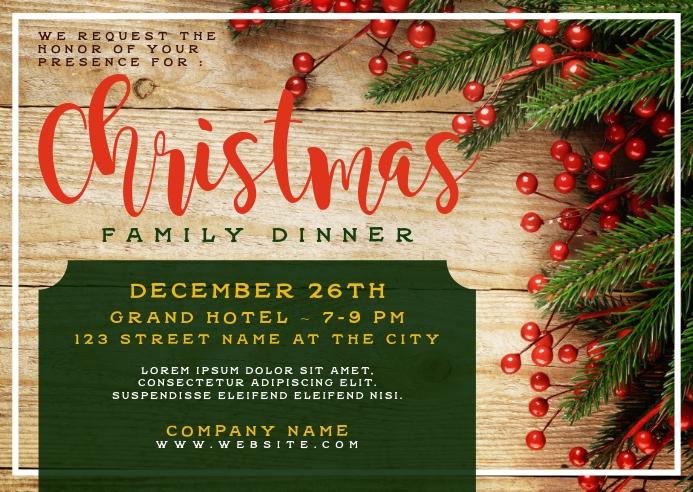 Christmas Family Dinner Postcard Invitation Postal template