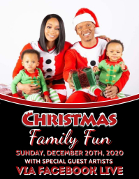 CHRISTMAS FAMILY PHOTO FLYER TEMPLATE Volante (Carta US)