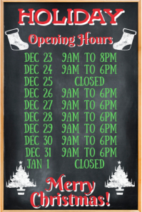 Christmas Festive Opening Hours Template Poster
