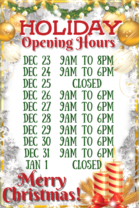 Christmas Festive Opening Hours Template