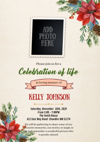 Christmas flower funeral theme invitation A6 template