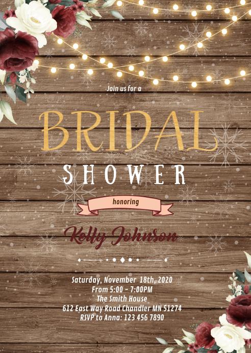 Christmas flower wedding invitation A6 template