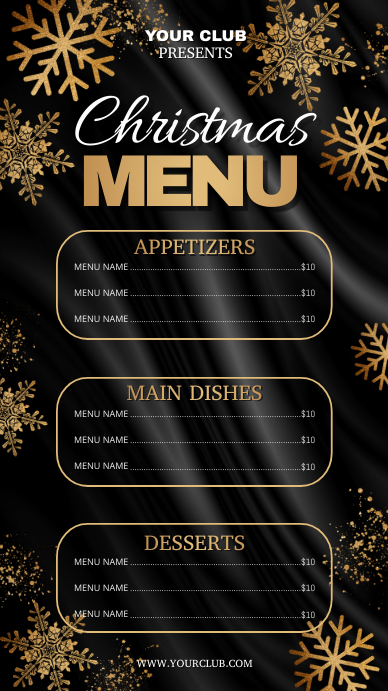 christmas flyer, christmas, christmas menu Ekran reklamowy (9:16) template