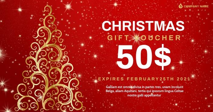 christmas gif card voucher design template ad Immagine condivisa di Facebook