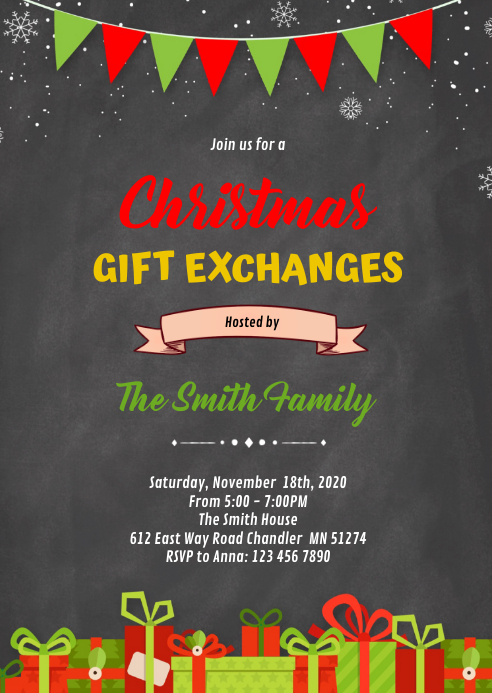 Christmas gift exchange party invitation A6 template