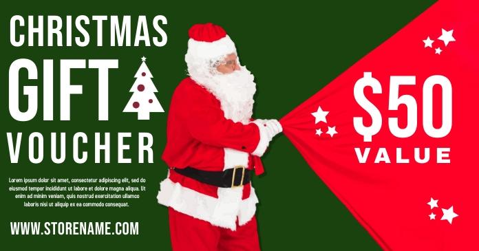 Christmas Gift Voucher Template Facebook 共享图片