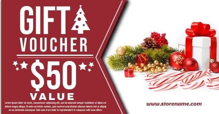 Christmas Gift Voucher Template Gambar Bersama Facebook