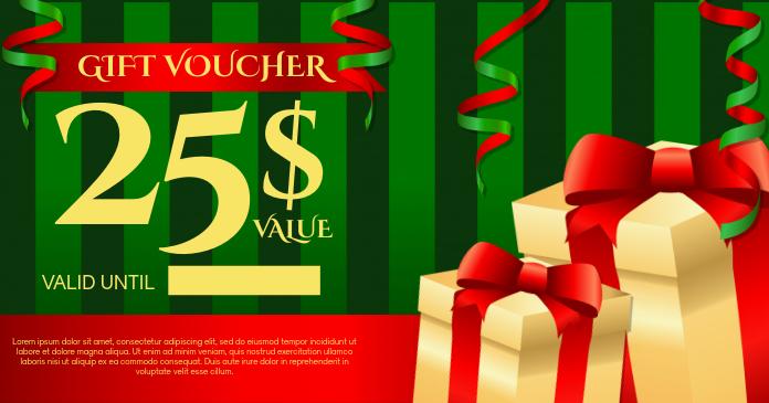 Christmas Gift Voucher Template Imagen Compartida en Facebook