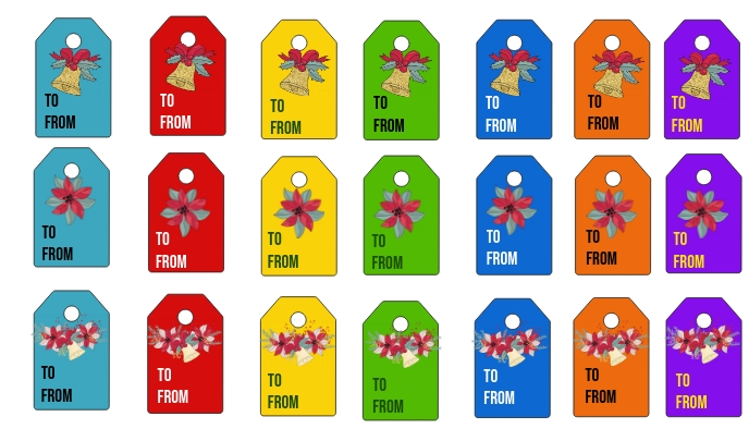 Christmas Glitter Tags Label template