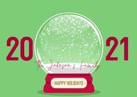 Christmas Globe Family Photo Video Greeting Postkort template