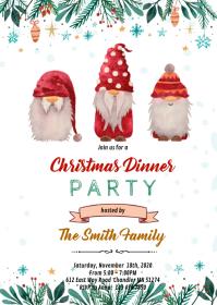 Christmas gnome invitation A6 template