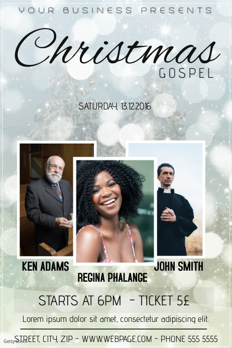 christmas gospel church event concert poster template