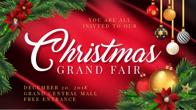 Christmas Grand Event Invitation Banner Design Facebook-covervideo (16:9) template