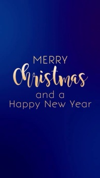 Christmas greeting Card Blue Gold Video Story
