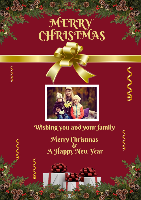 Christmas Greeting Card A4 template