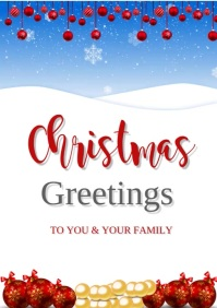 CHRISTMAS GREETING CARD A3 template