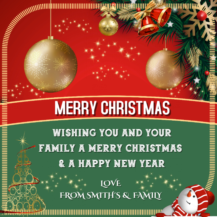 christmas greeting card for family & friends Instagram Post template