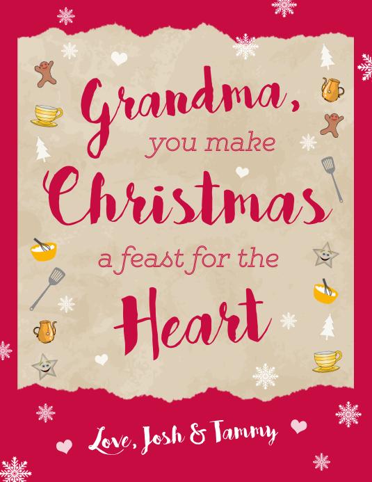 Christmas Greeting Card Grandma Flyer template