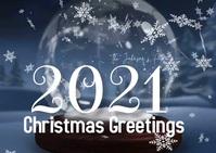 Christmas Greeting Snowglobe Family Photo Vid Postkarte template