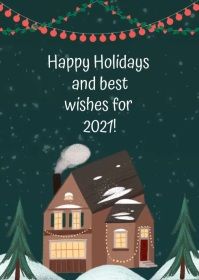 Christmas greeting video card A6 template
