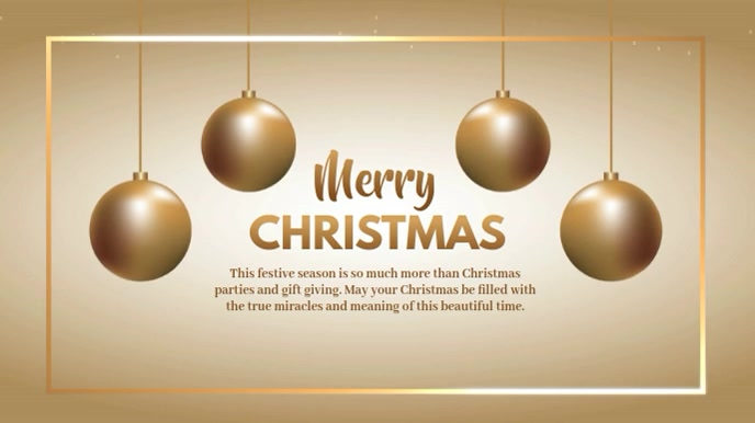Christmas Greeting Video Gold Shine Wishes Digital na Display (16:9) template