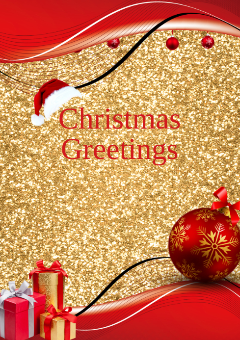 christmas greetings card flyer template