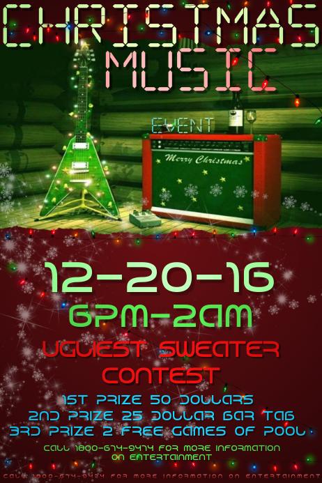 Christmas Guitar Music Party Sweater Bar X-Mas Holiday Lites