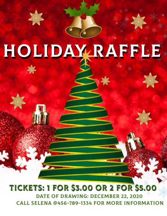 Christmas Holiday Basket Raffle Volantino (US Letter) template