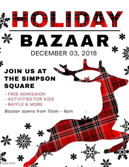 Christmas Holiday Bazaar Flyer Design Pamflet (Letter AS) template