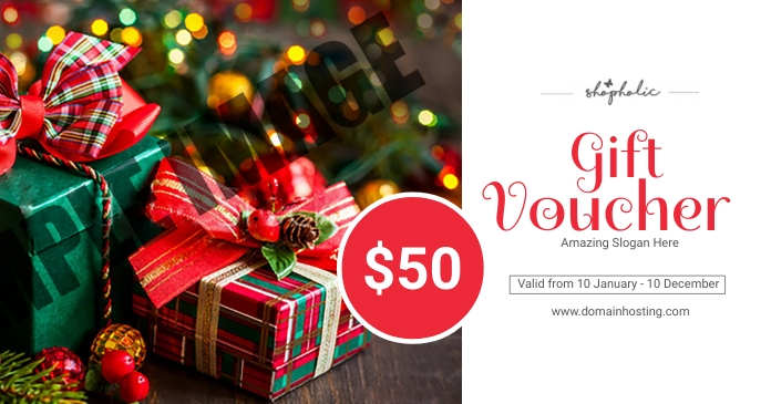 Christmas / Holiday Gift Voucher Facebook 共享图片 template