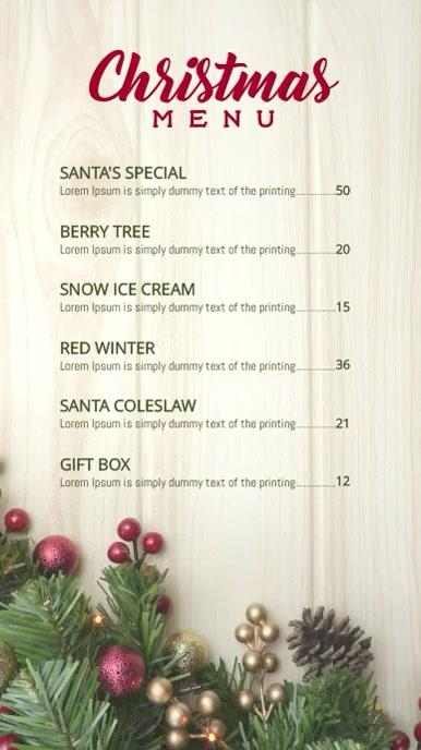 Christmas Holiday menu Ekran reklamowy (9:16) template