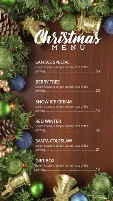 Christmas Holiday menu Pantalla Digital (9:16) template