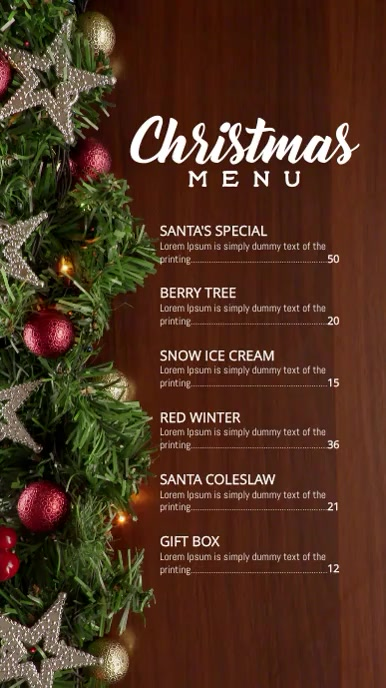 Christmas Holiday menu Digitalt display (9:16) template