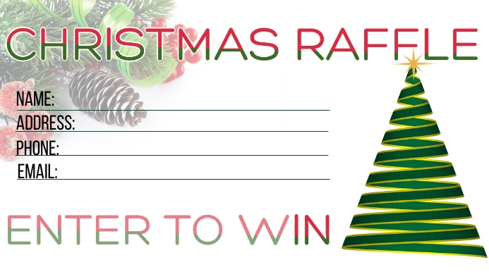 Christmas Holiday Raffle Tarjeta de Presentación template