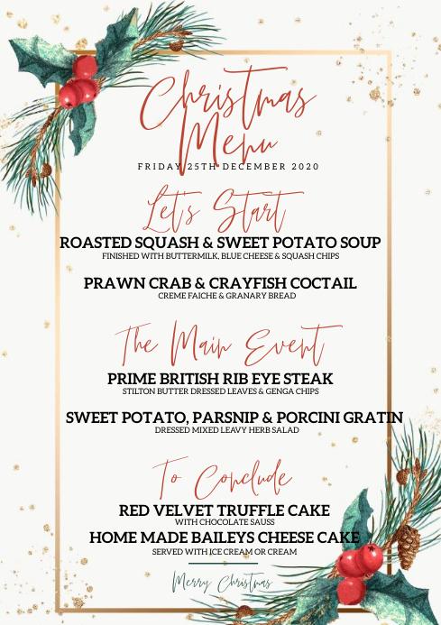 CHRISTMAS HOLIDAY RESTAURANT DINNER MENU A4 template
