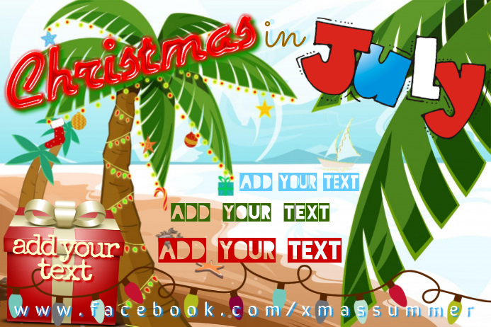 christmas in july beach event flyer poster template postermywall