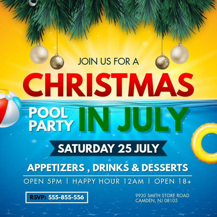 Christmas in July Cocktail Party Invite