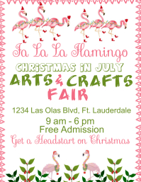 Christmas in July Flamingo Template Flyer (Letter pang-US)