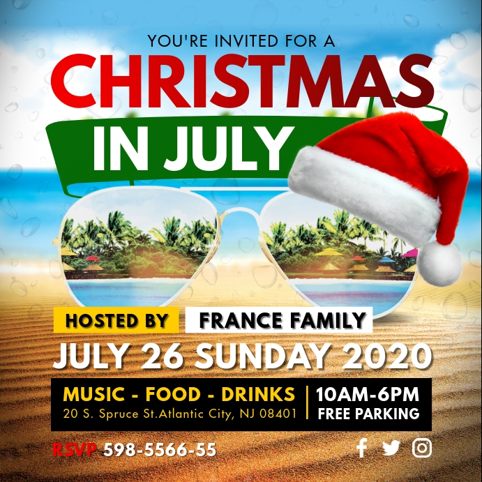 Christmas in July Local Party Invitation