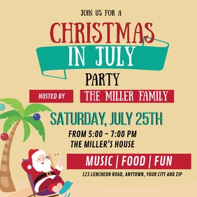 CHRISTMAS IN JULY PARTY EVENT Design Template Vierkant (1:1)