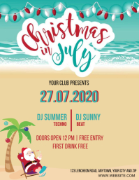 CHRISTMAS IN JULY PARTY EVENT Design Template Ulotka (US Letter)