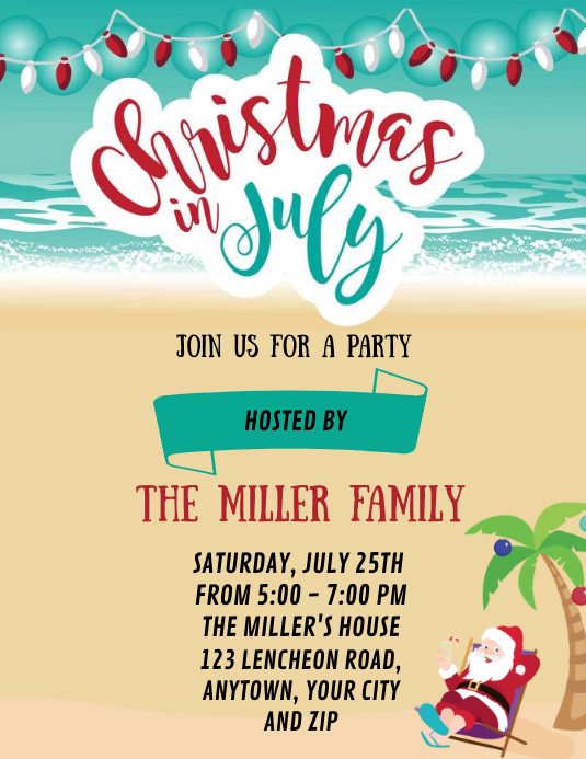 CHRISTMAS IN JULY PARTY EVENT Design Template Flyer (US Letter)